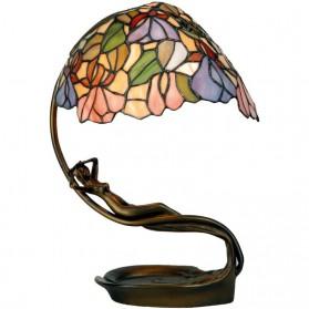 Erotisch getinte ijzeren tafellamp met Tiffany kap 997ll5
