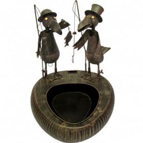 Metalen fontein met vissende vogels tuindecoratie