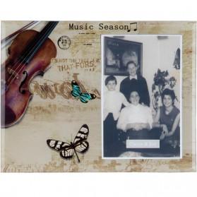 Glazen fotolijstje met viool en vlinders Clayre and Eef 4120f2
