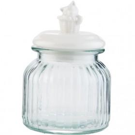 Glazen voorraadpot met poesje op witte deksel 6151lg6