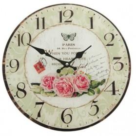 Glazen wandklok met rozen en vlinder Parijs 5520lk6