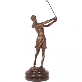 Vrouwelijke golfer bronzen beeldje