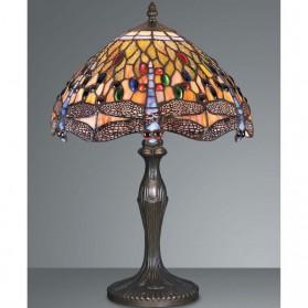 Grote rood met gele Tiffany tafellamp met libelle 201ft