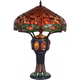 Grote tafellamp Tiffany stijl met glas in lood kap - libelles 131ft
