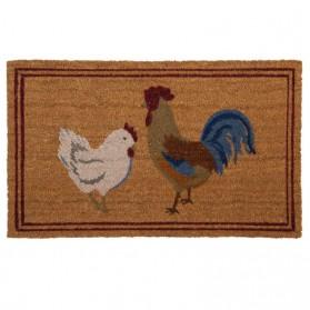 Haan met kip - deurmat - kokos - 75x45 cm - clayre and eef
