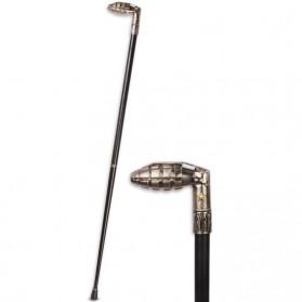 Handvat in vorm van handgranaat op houten wandelstok 30wa
