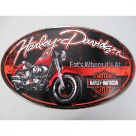 Harley Davidson - motor - ovaal bord - blik - wanddecoratie - 57x3x33cm