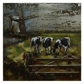 Hollands polder landschap met koeien en molen 3d art 209