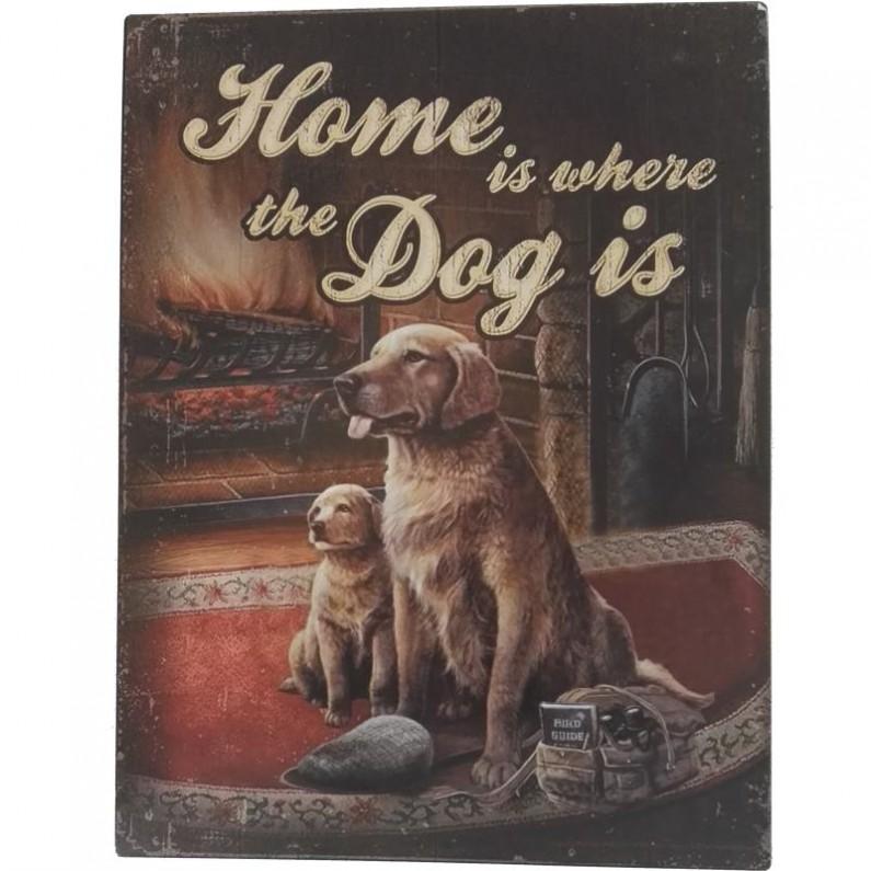 Home is where the dog is blikken decoratiebordje