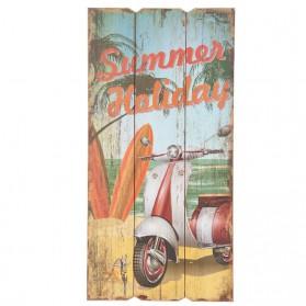 Houten decoratiebord Summer holiday met Vespa scooter