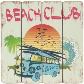 Houten decoratiebord beach club volkswagen bus clayre and eef