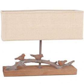 Houten tafellamp in natuurtint met vogeltjes 321pml6