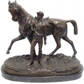 Jockey met paard bronzen beeld