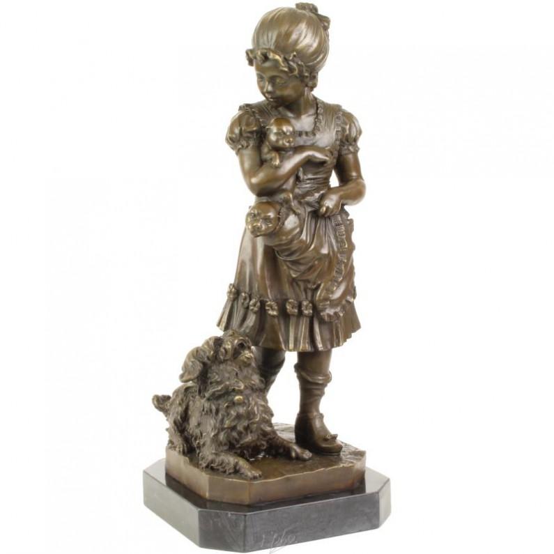 Jong meisje met hond en puppies bronzen beeldje 212rb