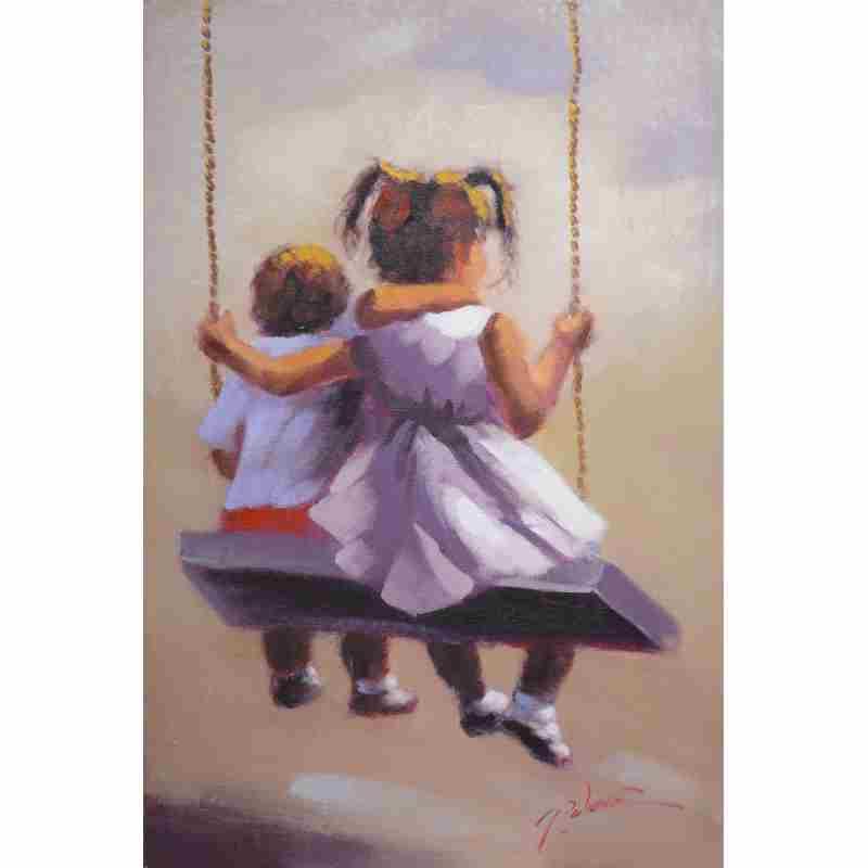 Super Kinderen op schommel Canvas schilderij BY-31