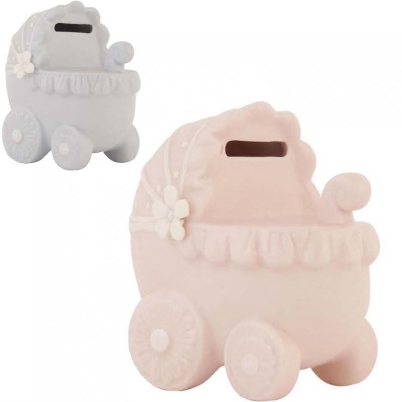 Kinderwagen spaarpot blauw en roze Clayre and Eef