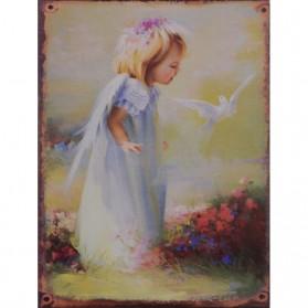 Kind met witte duif decoratie bordje
