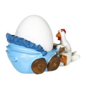 Kip met kinderwagen eierdopje rose en blauw Paolo Chiari