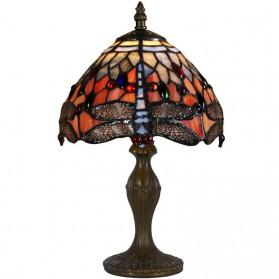 Kleine rood met gele Tiffany tafellamp met libelle 101ft