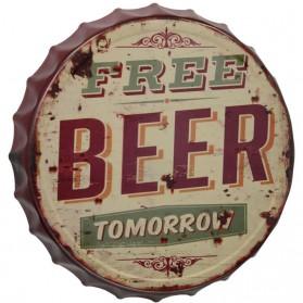 Kroonkurk decoratie bordje Free beer tomorrow 054sn