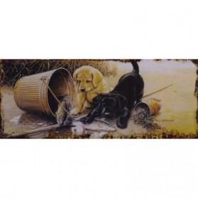 Labrador pups op een blikken decoratie bordje 492sn