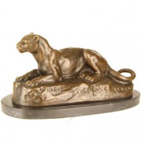 Liggende leeuwin bronzen beeld op marmer 811rb