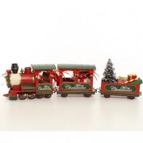 Locomotief met wagons - merry chritsmas - kerst - trein - blikken woondecoaratie - 68x11x18cm
