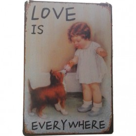 Love is everywhere - een vintage blikken decoratiebordje