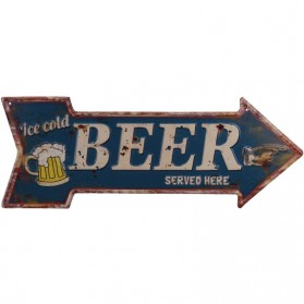 Luxe ice cold beer served here horeca decoratie bordje 645sn