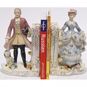Man en vrouw in ouderwetse kleding - porseleinen boekensteunen 301xa