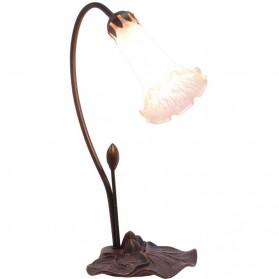 Messing bureaulamp met bloemenkelk kap