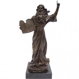 Mozes met tien geboden bronzen beeld