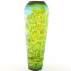 Oak forrest - eiken bomen - vaas- cameo glas - emile galle - 16.2x16.2x44cm