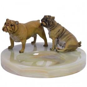 Onyx asbak met bulldogs van brons 20ta