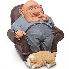 Opa - grootvader - funny life - beeldje - warren stratford - 11x13.5x10.5cm