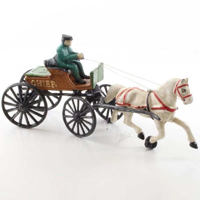 Paard en wagen van gietijzer