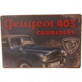 Peugeot 403 cabriolet blikken decoratiebordje