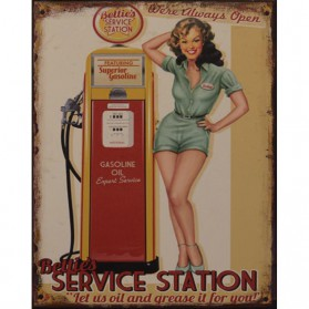 Pin-up Betties service station blikken decoratiebordje 18tna17