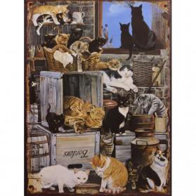 Poezen - straat katten decoratie bordje