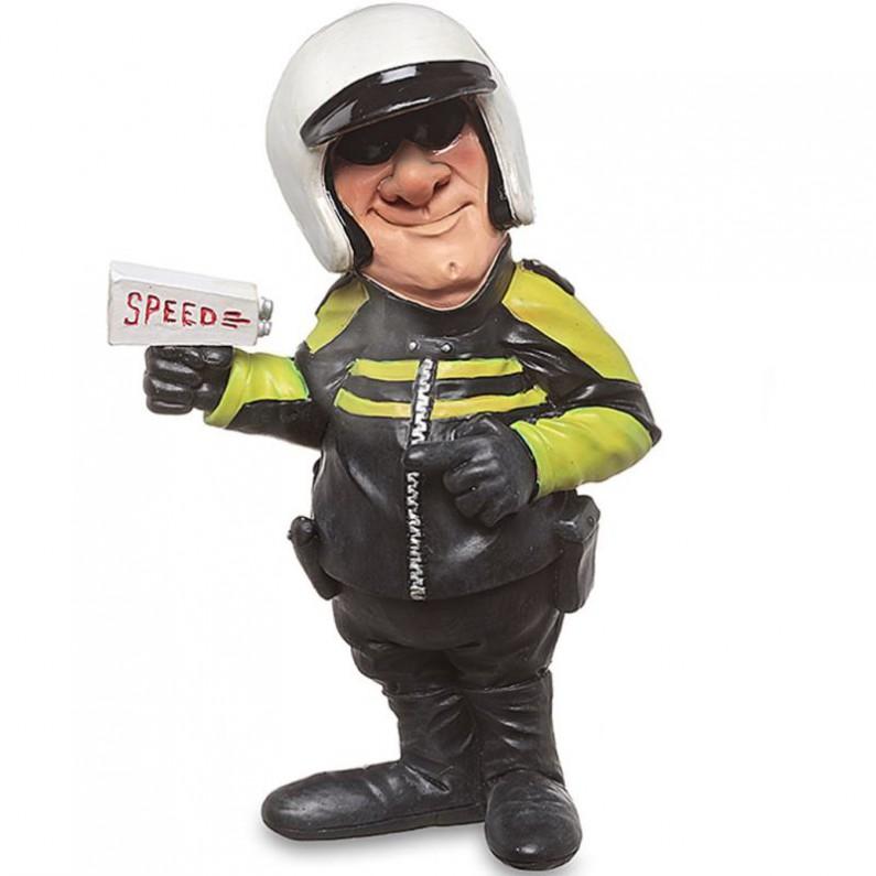 Politieagent - motoragent met lasergun - beeldje - Warren Stratford - 11x7x17cm