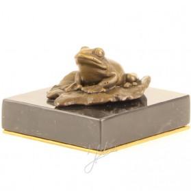 Bronzen kikker op lelieblad - presse papier 5mb