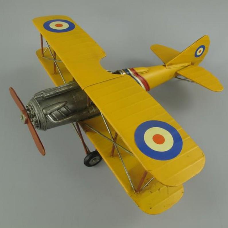 Propellorvliegtuig - dubbeldekker - geel - blik - 39x42x15cm