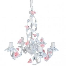 Romantische witte ijzeren hanglamp met rozen 371pml5