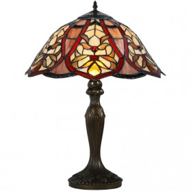 Roodbruine tafellamp in Tiffany glas in lood stijl 501ft