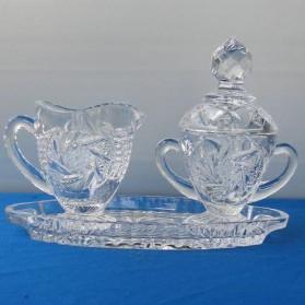 Roomstel suikerpotje en roomkannetje van kristal