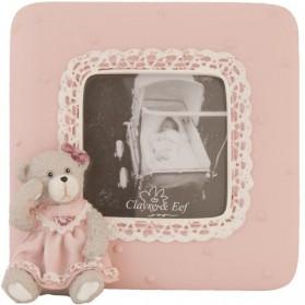 Rose fotolijstje met beertje - kraamcadeau voor meisje 3110f2