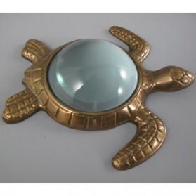 Schildpad als loep - vergrootglas - messingkleur - 16x15x3cm