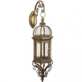 Stalen hangende lantaarn - koperkleur - tuindecoratie - 23.7x21.4x70.6cm