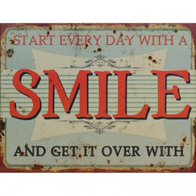 Start every day with a smile decoratie bordje