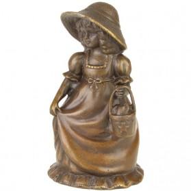 Tafelbel van brons meisje in ouderwetse kleding 7tj